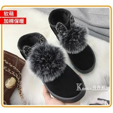 冬季新款女靴百搭韓版短筒短靴加絨保暖棉鞋女學生毛毛雪地靴