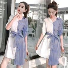 撞色條紋中長款襯衫女韓版春夏季新款繫帶收腰五分袖洋裝女