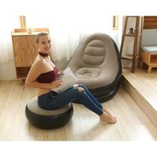 單人植絨沙發懶人充氣床可摺疊沙發椅加厚帶腳蹬午休躺椅 - 咖啡色,116*96*83cm