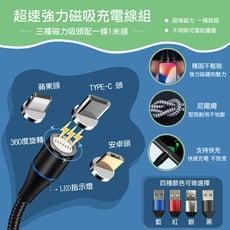 超速強力磁吸充電線組(3款磁吸頭+1米充電線)