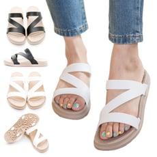 FollowMe拖鞋-線條Q軟輕量防水羅馬休閒拖鞋-三色