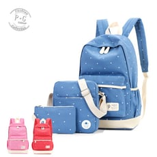 時尚大容量印花子母組合包 雙肩後背包 (粉色/紅色/藍色)【P-G Shop】