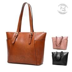 歐美時尚通勤手提托特包(棕色/粉色/黑色)【P-G Shop】