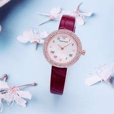 ARMANI 珠光寶氣的時尚優質女性晶鑽皮革腕錶-酒紅+玫瑰金-AR11357