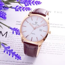 Olympia Star奧林比亞 超大視野震驚全場時尚流行皮革腕錶-金+咖啡-98029GR皮