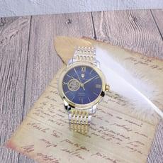 Olym Pianus 奧柏表 希望之星鏤空造型機械式腕錶-藍+金-990-348AGSK