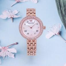 ARMANI 珠光寶氣的時尚優質女性晶鑽腕錶-玫瑰金-AR11355