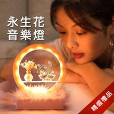 永生花天鵝/海豚造型音樂夜燈 音樂盒 小夜燈