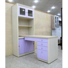 【歐風別館】桂格洗白粉紫色L型書桌櫃【基隆至台中免運費】