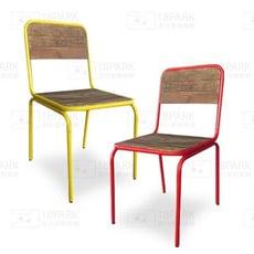 18PARK-鐵目餐椅 [金屬+原木,紅色]