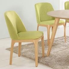 18PARK-當代餐椅 [棉麻布/高密度泡棉/防鏽鐵管/環保木紋皮,綠色布/橡木色腳]
