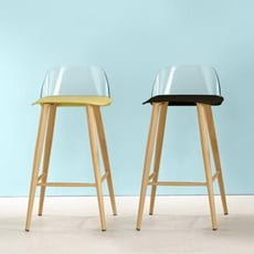 18PARK-木圖吧椅-塑膠+鐵腳版 [PP塑膠/壓克力/鐵管/環保木紋皮,綠色]