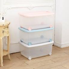 【ikloo】輕柔色系滑輪收納整理箱/收納箱3入組