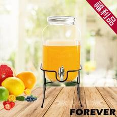 【日本FOREVER】夏天必備派對玻璃果汁飲料桶(含桶架)4L(福利品)