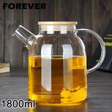 【日本FOREVER】日式竹蓋耐熱玻璃把手花茶壺1800ML