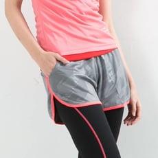 女款慢跑褲 飄飄褲 馬拉松褲 灰底粉邊