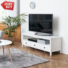 【JUSTBUY】歐盟認證品質 霍爾森斯經典北歐電視櫃 純白美學三抽屜可收納