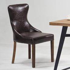 【ONE 生活】福克皮實木餐椅(咖啡)