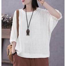 復古文藝夏季薄款蝙蝠袖寬鬆亞麻五分袖上衣棉麻t恤女短袖