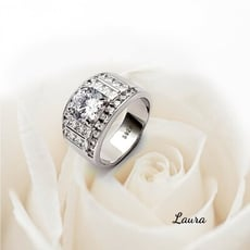 -Laura - s925純銀  尊皇鑽戒戒指 十心十箭美鑽 寬版銀戒 (男款) 純銀戒指