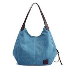 【日式經典】女款單色帆布包 (湖藍色)