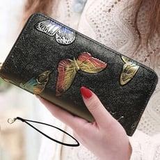 古典手繪仕女手拿包 手機包 錢包 皮夾