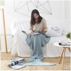 美人魚尾巴針織毛毯 沙發毯 空調毯 小涼被 舒適保暖 暖腳 生日禮物 交換禮物【葉子小舖】