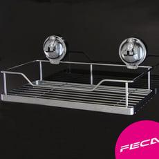FECA非卡 無痕強力吸盤 鍍鉻不鏽鋼置物架組(中)