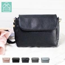 側背包 手感軟皮革磁釦翻蓋三層款兩用小方包 斜背包 女包 89.Alley