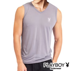 PLAYBOY 速乾內衣 吸溼排汗快乾運動機能V領無袖衫-單件SW9274