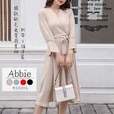 【Abbie】韓款歐尼氣質荷葉袖綁帶V領洋裝