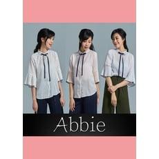 【Abbie】學院風百摺寬袖立領綁帶襯衫