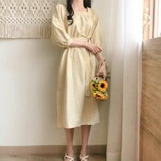 【Abbie】甜美清新格子方領五分袖洋裝