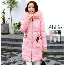 【Abbie】韓版大毛領毛球緞帶菱格紋棉絨外套