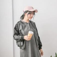 【Abbie】時尚滿版亮片機車皮衣