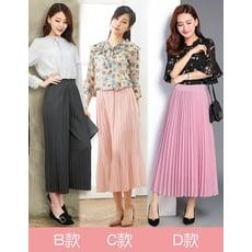 【Abbie】韓版優雅時尚修身顯瘦寬褲裙 (B/C/D多款任選)