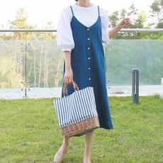 【Abbie】時尚潮流牛仔細肩帶背心洋裝