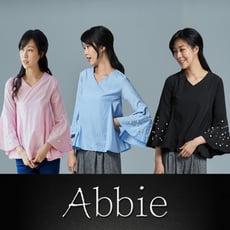 【Abbie】氣質優雅荷葉寬袖V領上衣(9款造型任選)