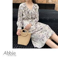 【Abbie】韓款荷葉邊V領雪紡碎花洋裝