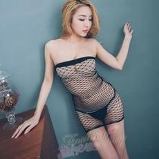 情趣睡衣 火辣修身洞洞情趣內衣褲 透明短裙洞洞裝貓裝式情趣睡衣~流行E線B8069