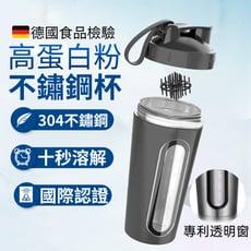 【德國食品認證】不鏽鋼搖搖杯 高蛋白杯 冰壩搖搖杯 蛋白粉 刻度運動水壺