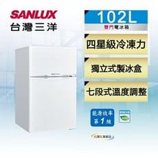 SANLUX台灣三洋102公升一級能效雙門定頻冰箱 SR-C102B1~含拆箱定位