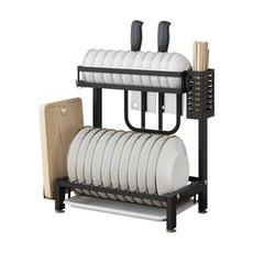 (全套組) 304不鏽鋼加厚款雙層碗盤瀝水收納架/置物架