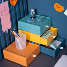 【Dagebeno荷生活】矽膠拉環抽屜式桌面收納盒 辦公桌分類盒整理櫃