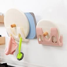 簡易型免打孔廚房壁掛式置物收納鍋蓋架砧板架