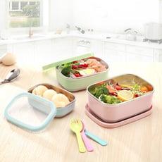 【SGS認證】304不鏽鋼北歐風長方型附蓋保鮮盒隔熱碗-超值三入組(小+中+大)