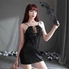 【Sexbaby99】若隱若現-細繩綁帶蕾絲花邊露背性感睡衣-黑色_性感睡衣_睡裙_外罩衫