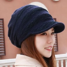 冬季保暖帽子女冬天韓版潮百搭時尚英倫鸭舌帽加绒針織帽毛線帽