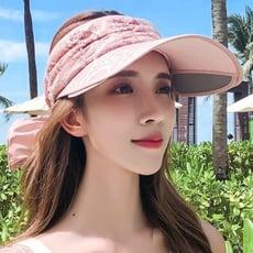 新款夏天防紫外線防曬空頂騎車大沿帽遮陽帽帽沿可以伸縮