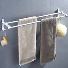 AA085-50cm免打孔太空鋁毛巾桿 無痕免貼 加厚雙桿毛巾架 毛巾置物架 浴室單杆掛浴巾架毛巾桿